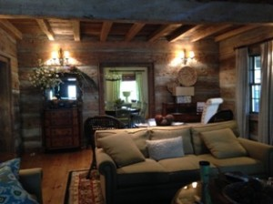 Great Room at the Cabin, log exposed walls