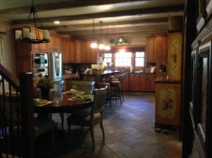 The modernized kitchen is amazing in the rustic cabin